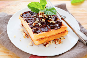 waffles with chocolate sauce