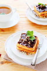 waffles with chocolate and tea