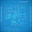 Blueprint of molecule. Stylized vector illustration.