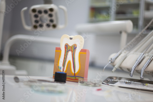 Dental instruments and tools in a dentists office  - 61118599