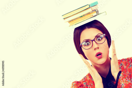 Young woman with books in retro style