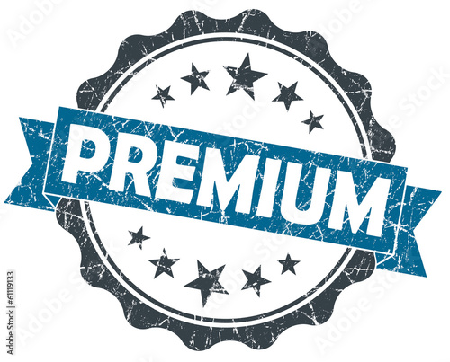 PREMIUM blue grunge vintage old style seal isolated on white