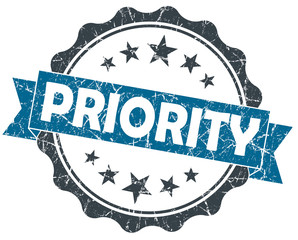 PRIORITY blue vintage seal isolated on white