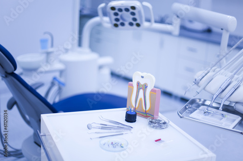 Poster Dental instruments and tools in a dentists office