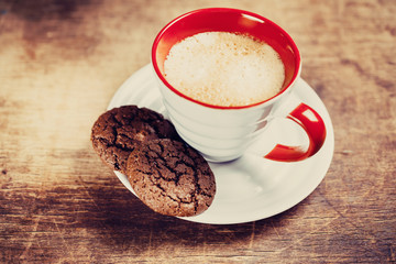 Flavored coffee with chocolate biscuits