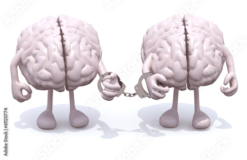 two human brains with arms and legs linked by handcuffs on hand