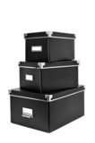black cardboard storage boxes