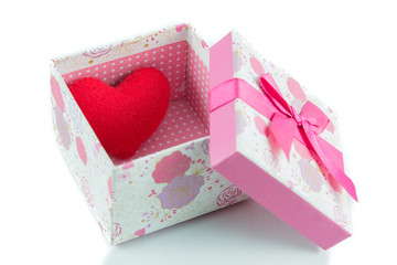 Gift boxes and red heart isolate
