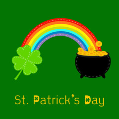 Clover leaf,  pot gold and rainbow. St Patricks day card. Flat d
