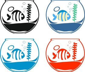 Set of icons with aquarium fishes