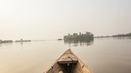 Canoe ride from tropical island in Ghana, Africa