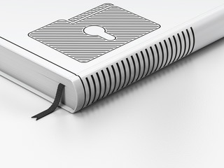 Business concept: closed book, Folder With Keyhole on white