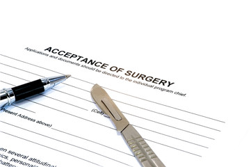 Isolated acceptance of surgery form scalpel and pen on white
