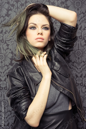 Modern beautiful young brunette woman