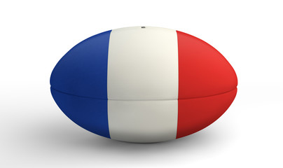 French Rugby Ball On White