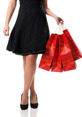 Pretty woman and  sale, detail photo, female legs with sale bags