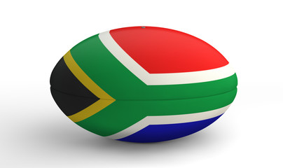 South African Rugby Ball On White