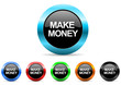 make money icon vector set