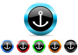 anchor icon vector set