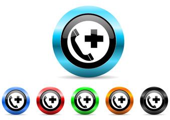 emergency call icon vector set