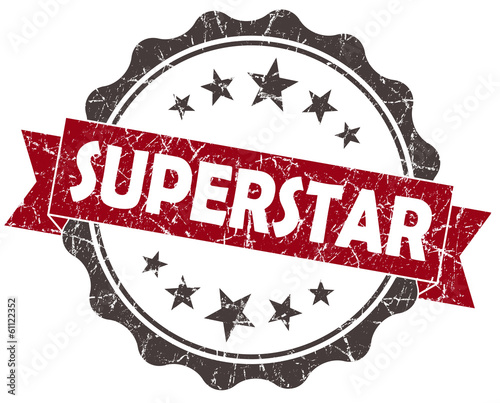 Superstar red grunge vintage seal on white