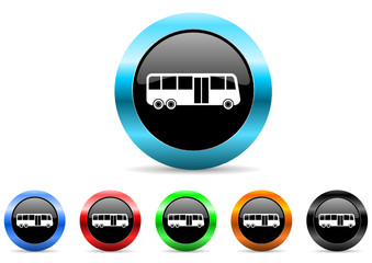 bus icon vector set