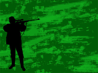 hunter silhouette on the camouflage background - vector