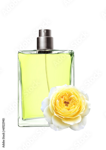 woman perfume in beautiful bottle and yellow rose flower isolate