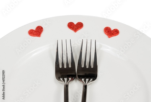 valentine day dinner to restaurant on white background