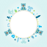 Blue Teddy Baby Symbols Boy Frame Blue