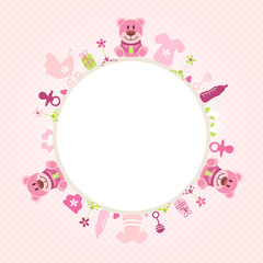 Rose Teddy Baby Symbols Girl Frame Rose