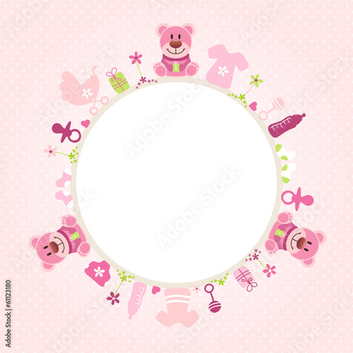 Rose Teddy Baby Symbols Girl Frame Rose