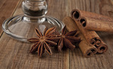 glass and star anise. cinnamon