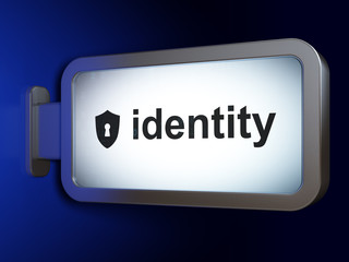 Safety concept: Identity and Shield With Keyhole on billboard