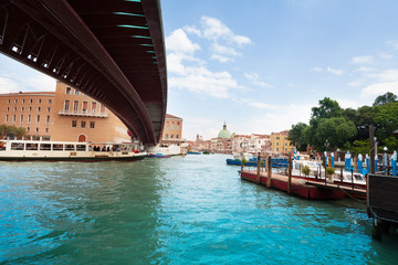 Under modern bridge in Venice