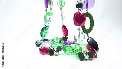 Jewelery beads necklaces with bright crystals