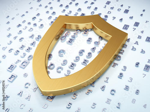 Privacy concept: Golden Contoured Shield on digital background
