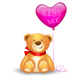 Cute teddy bear with in heart shape balloons, festive icon