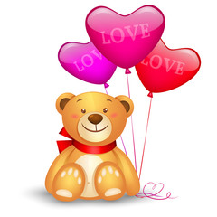 Cute teddy bear with in heart shape balloons, valentines day