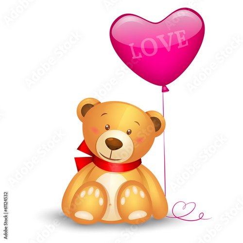 Cute teddy bear with in heart shape balloon, festive icon
