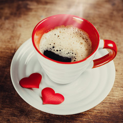 Morning coffee for a loved one. Valentine's day. Love concept