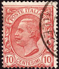 Postage stamp showing King Victor Emmanuel III, ca. 1906