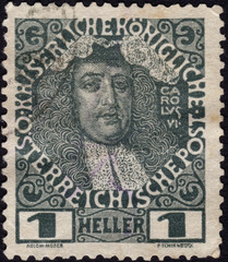 Postage stamp showing Holy Roman Emperor Charles VI