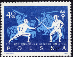 Polish postage stamp showing fencing and jousting