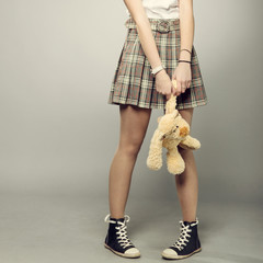 teenager girl with teddy bear