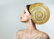 Extreme Hairstyle. Peculiar Woman with Snail. Headwear