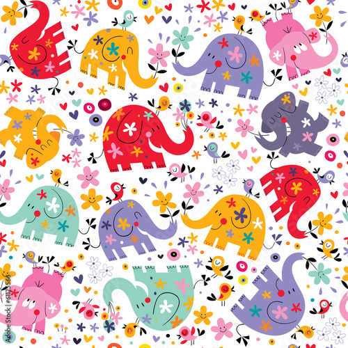 cute elephants, birds & flowers pattern