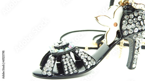 Gold pendant black shoe with diamond jewelery crystals