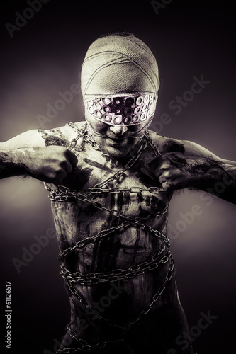 bdsm man. erotic and sensual concept, chains