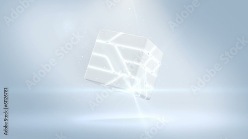 Sci-Fi Logo Reveal  Assembly and disassembly hi-tech Cube White.